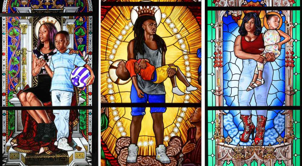 kehinde-wiley-glass-paintings-lamentation-le-petit-palais-kehinde-wiley-studio