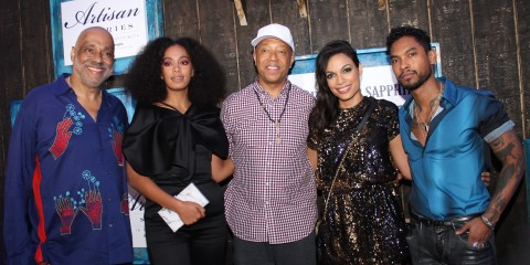 Danny Simmons, Solange, Russell Simmons, Rosario Dawson, and Miguel at the 6th Annual Bombay Sapphire Artisan Series Finale during Art Basel
