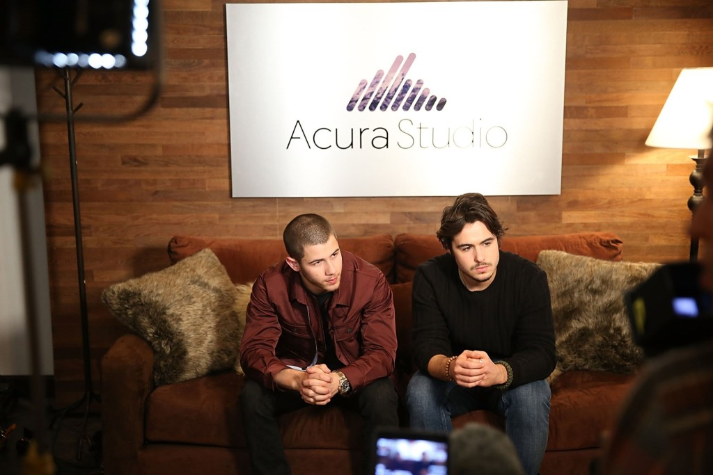 Nick Jonas and Ben Schnetzer attend the Acura Studio