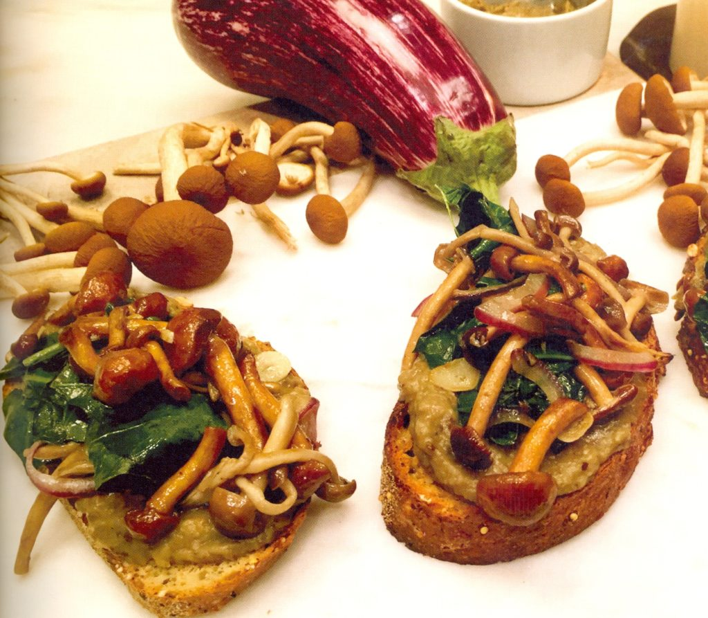 Collard Green and Mushroom Toast with Eggplant Puree
