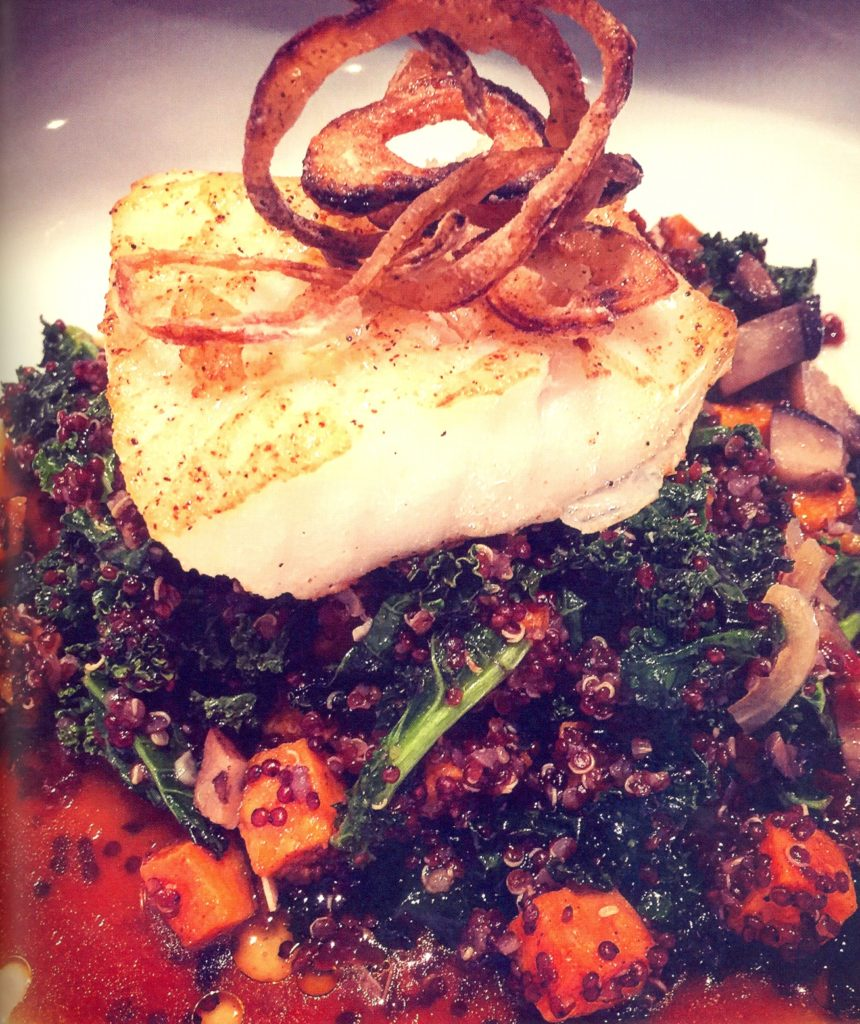 oasted Sea Bass and Mushroom Broth with Quinoa, Sweet Potatoes and Kale