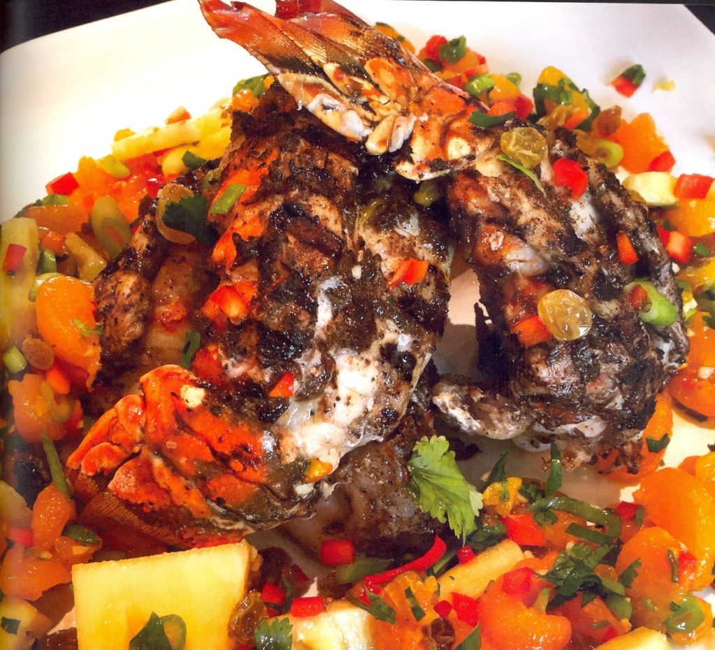 Grilled Jerk Lobster with Rum Raisin Mandarin Salsa